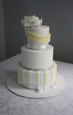 Lemon & Grey Wedding Cake-- darker gray and brighter yellow