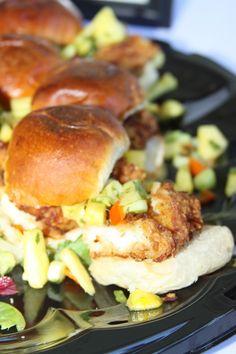 Coconut Macadamia Mahi Sliders Conch House, Tropical Weddings, Mahi Mahi, Salmon Burgers, Sliders, Catering, Coconut, Chicken, Ethnic Recipes