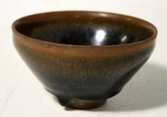 """Chinese Rabbit Hair Glaze Small Bowl Song Dyn                          Rabbit hair glaze small pottery bowl, China, probably Song Dynasty (960-1279); unmarked. Dimensions: 2-3/4"""" H x 4-3/4"""" diameter measured on top"""