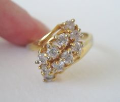 Vintage 70s Traditional Retro Signed HGE Heavy Gold Electroplate Clear Glass Stone CZ Size 9 Ring by ThePaisleyUnicorn, $16.00