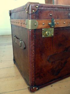 Leather paris trunk, made in England