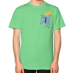 Blue Butterfly and Yellow Flower Unisex T-Shirt (on man)