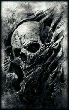 Crazy Skull Art Creepy Skull Drawings Skulls and Bones Art Skull Tattoo Design, Skull Design, Skull Tattoos, Body Art Tattoos, Tattoo Designs, Tattoo Ideas, Gott Tattoos, Bild Tattoos, Dark Fantasy Art