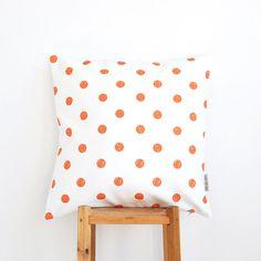 """Orange Kids Pillow, Geometric Decorative Pillow, Modern Teen Pillow, Nursery Pillow, Throw Pillow 16"""" x 16"""""""