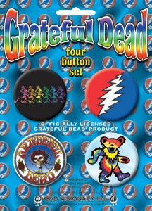 GRATEFUL DEAD DANCING BEAR SKULL AND ROSES LOGO BUTTONS / PIN SET OF 4 NEW  $5.74 via Greatgiftsgalore