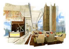 sketch perspective interior reception into a watercolor on paper. - Buy this stock illustration and explore similar illustrations at Adobe Stock Interior Design Renderings, Interior Design Boards, Interior Sketch, Interior Architecture, Hotel Floor Plan, Hotel Lobby Design, Hotel Interiors, Decoration, Illustration