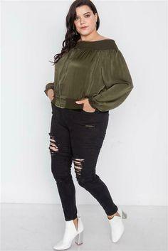 Women's Plus Size Zippered Olive Off-Shoulder Jacket 1X 2X 3X #Unbranded #Bomber