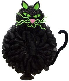 Deco Mesh Black Cat Wreath by Karen B., A.C. Moore Erie, PA #decomesh #wreath #halloween