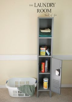 Locker and Cubby Combo Locker Urban Chic--absolutely LOVE this! What a fun storage idea in your laundry room! #lockerlove #lockers #storage