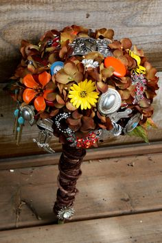 Brooch Bouquet - Wedding brooch Fall Cowgirl Country Western Bridal bouquet in browns, oranges, & yellows. Silk Wedding Bouquets, Brooch Bouquets, Bride Bouquets, Wedding Flowers, Fall Wedding, Rustic Wedding, Our Wedding, Dream Wedding, Wedding Ideas