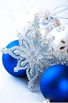 christmas silver and blue - Blue Christmas Ornaments