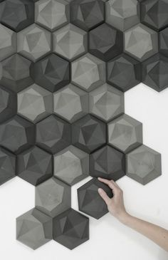 Hexagonal indented tiles - inhumanform: Edgy Tile by Patrycja Domanska Tanja Lightfoot 3d Tiles, Concrete Tiles, Tiling, Wall Patterns, Textures Patterns, Modelos 3d, 3d Wall Panels, 3d Prints, Wall Treatments