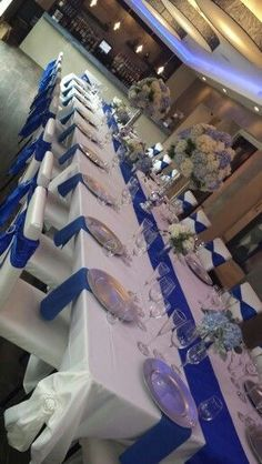 Masquerade chairs and royal blue and silver table scape! Masquerade chairs and royal blue and silver Royal Blue Centerpieces, Royal Blue Wedding Decorations, Blue Wedding Receptions, Quinceanera Decorations, Wedding Table Decorations, Wedding Colors, Wedding Ideas Royal Blue And Silver, Party Centerpieces, Wedding Themes
