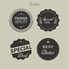 Collection of retro vintage gray design labels