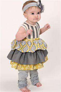 Baby Persnickety Clothing October Sky Paisley Dress in in Grey