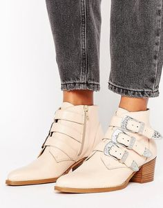 Leather Buckle Ankle Boots