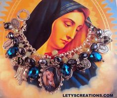 """""""Mother's Sorrows"""" Catholic Virgin Mary, Saints Religious Medals Charm Bracelet www.letyscreations.com"""