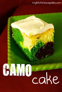Camo cake - chocolate cake and white cake died off white, light green and dark green.  Use an ice cream scoop to 'blob' different colors on the bottom of the cake pan.  Then, do a second layer putting different colors on top of the first.