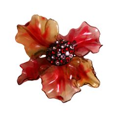 Vendome Lucite and Paste Flower | From a unique collection of vintage brooches at http://www.1stdibs.com/jewelry/brooches/brooches/