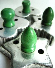 Vintage Aluminum Cookie Cutters with Green Wooden Handles by retrovertigovintage, via Flickr