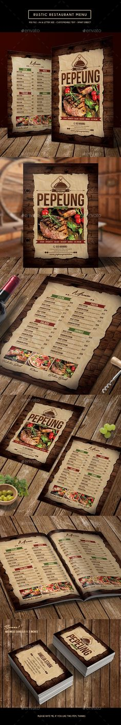 Rustic Restaurant Menu Template PSD #design Download: http://graphicriver.net/item/rustic-restaurant-menu/14239390?ref=ksioks