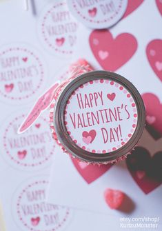 INSTANT DOWNLOAD Printable Cute Valentine Mason Jar Lid Label and Heart Hanging Gift Tag. great for candy gift, cookie kit, jams & jellies #ad