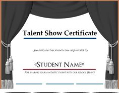 Talent show certificate templates are official samples which attest a certain kind of talent which is displayed at an official event and which is unique and as per standard of organizing committee. Certificate Format, Certificate Templates, Templates Printable Free, Free Printables, Word Templates, Organizing Committee, Talent Show, Pdf, Names