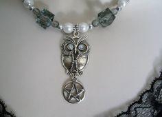 Goddess Athena Owl Pentacle Necklace