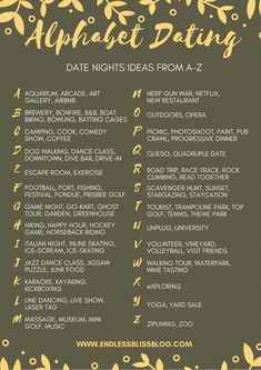 Looking for some ideas for date night? Why not try Alphabet Dating? This post ha. Looking for some ideas for date night? Why not try Alphabet Dating? This post has tons of date night ideas from A-Z so y. Marriage Tips, Happy Marriage, Love And Marriage, Relationship Advice, Relationship Challenge, Relationship Crafts, Marriage Romance, Marriage Challenge, Relationship Therapy