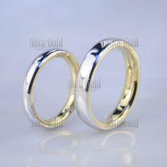 Обручальные кольца бублики из двух оттенков золота с бриллиантами в торце  (Вес пары  11 03a437fdf2bf7