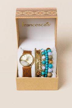 Daria Perforated Watch Box Set- Cognac