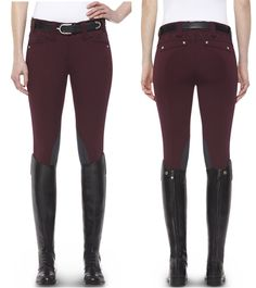 Ariat® Heritage Fashion Quilted Knee Patch Breech in Mulled Wine.