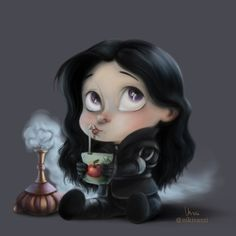 Little Heroes - Yennefer  The Last Wish  Those who red the books, know why apple juice and an air jinn ;)