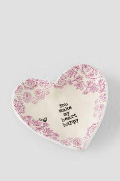 Pink You Make My Heart Happy Vintage Trinket Dish $10.00
