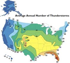 Annual Number Of Thunderstorm Days In Your City Country Snow Chicago Most