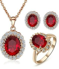 http://rubies.work/0615-emerald-rings/ Rose Gold Pated Red Austrian Crystal Pendant Ruby Jewelry Se