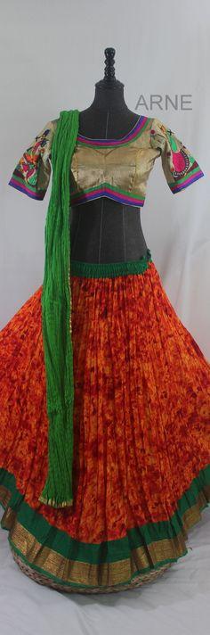 Navratri Special! Orange Green Chaniya Choli  http://www.arneus.com/lehenga/orange-green-chaniya-choli
