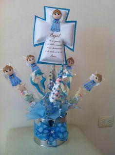 Souvenirs y centro de mesa para baby shower en goma eva - Decoracion bautizo nina ...