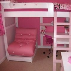 High Bed with built in Shelving & Desk - Love