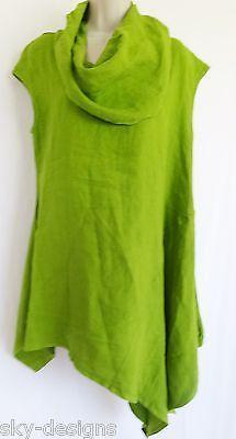 Bryn Walker Noa Tunic Dress Flax Linen Asymmetrical Top Kiwi Green