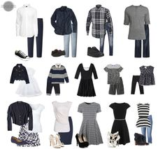 Vêtements de Famille - Grande Famille - Gris, Noir, Blanc , bleu marin et Jeans.