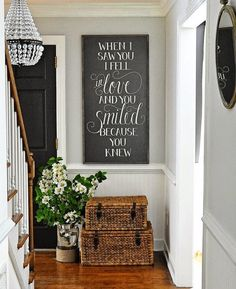 Beautiful Foyer Ideas, Home Decor Ideas, Decorating Ideas, Farmhouse Chic, Wood  Basket, Natural Wood, To Ship, Wall Colors, Wedding Signs