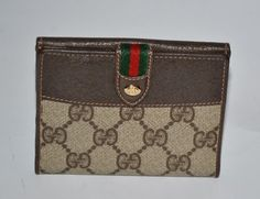 Gucci Vintage Gucci Bifold Wallet in Brown Leather & GG Canvas