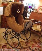victorian baby buggy | Antique Victorian Wicker Baby Carriage