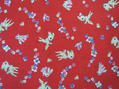 "Fat Quarter of Lecien 30's Collection Bambi and floral Fabric on Red Background.  Made in Japan. Approx. 18"" x 22"""