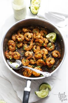 The best dish at the party is here! This Fiesta Shrimp recipe screams Taco Tuesd… Appetizers For A Crowd, Seafood Appetizers, Yummy Appetizers, Appetizer Recipes, Sweets Recipes, Cilantro Lime Sauce, Jalapeno Sauce, Shrimp Recipes, Sauce Recipes