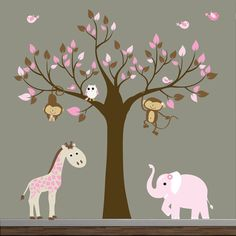 For baby girl's room! Vinyl Wall Decal Tree Jungle with Elephant, Owl, Giraffe, and Birds by Modernwalls