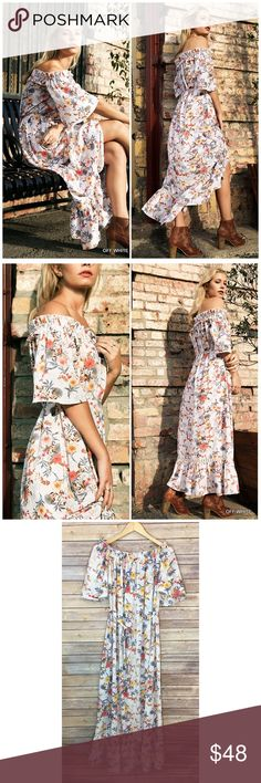 Off White Off Shoulder Floral Maxi Dress Off White Off Shoulder Floral Maxi Dress. Features a tie waist and Crochet detailing. Made of cotton/ poly blend. Fits true to size Bchic Dresses Maxi