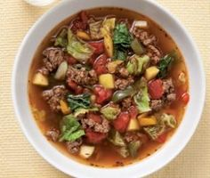Soups On!!! This wholesome sweet-and-sour soup combines beef, sweet paprika and cabbage—ingredients that star in a number of German dishes. It is particularly nice served with crusty rye bread.  It's filling and tasty ---  we love it ♥.