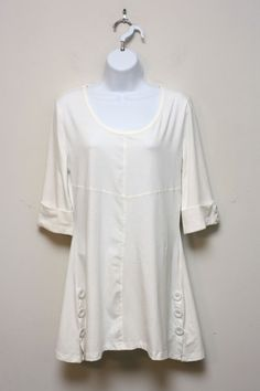 Simply Noelle White Tunic Top Topstitch 3/4 Sleeve Decor Buttons Sz S / M NWT…